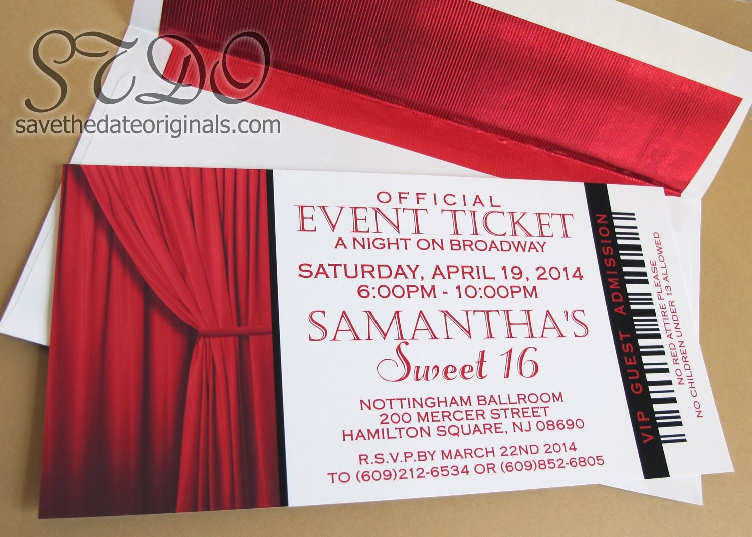 Save the Date Originals: Sweet 16 Broadway invitations | Celebrating ...