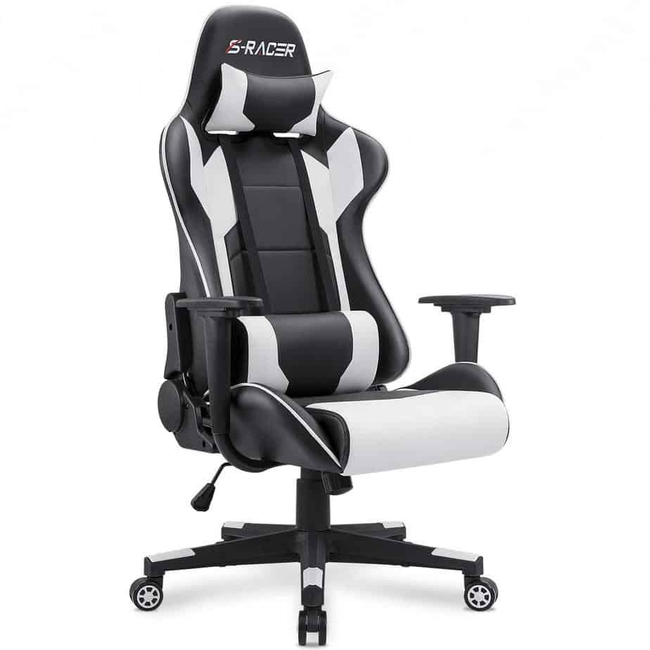 respawn 110 racing style gaming chair reclining ergonomic chair with footrest in black (rsp-110-blk)