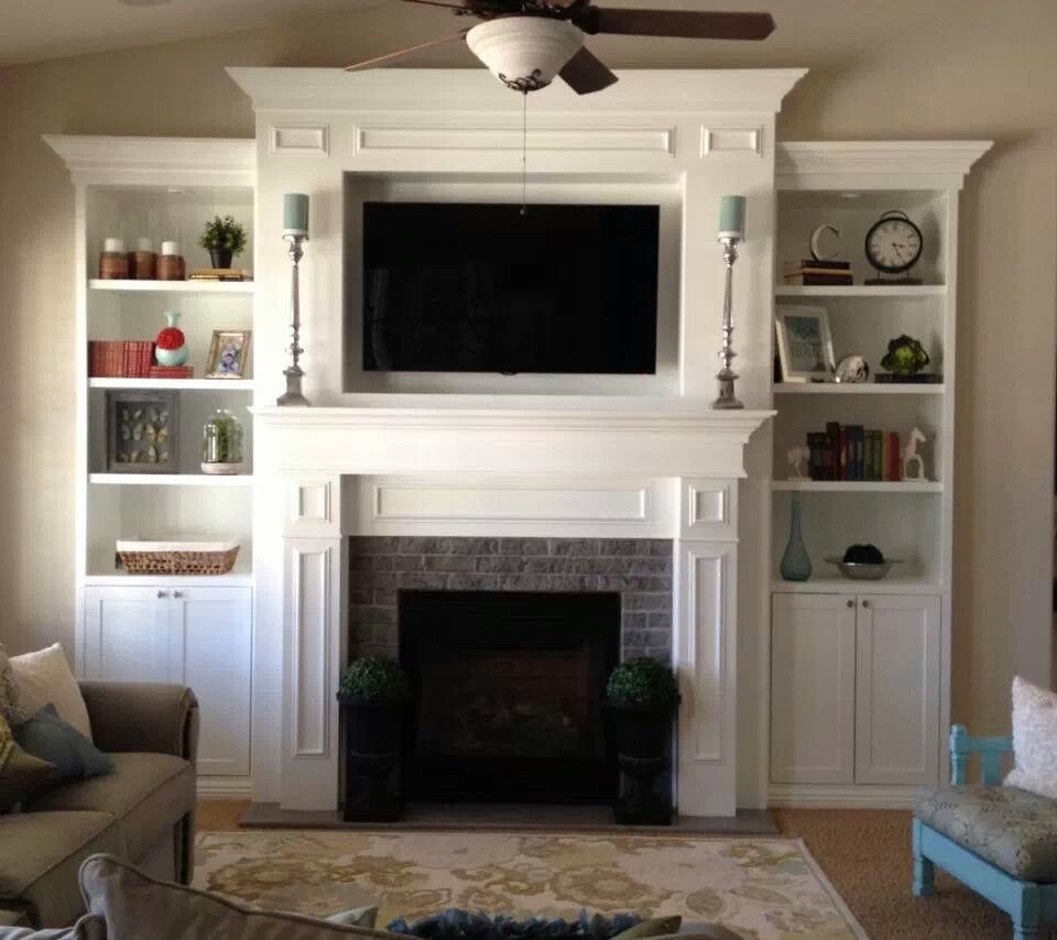 Stone Fireplace Mounted Tv Side Storage And Bookshelves But Too Much White Home Fireplace Fireplace Design Living Room Remodel #side #cabinet #living #room