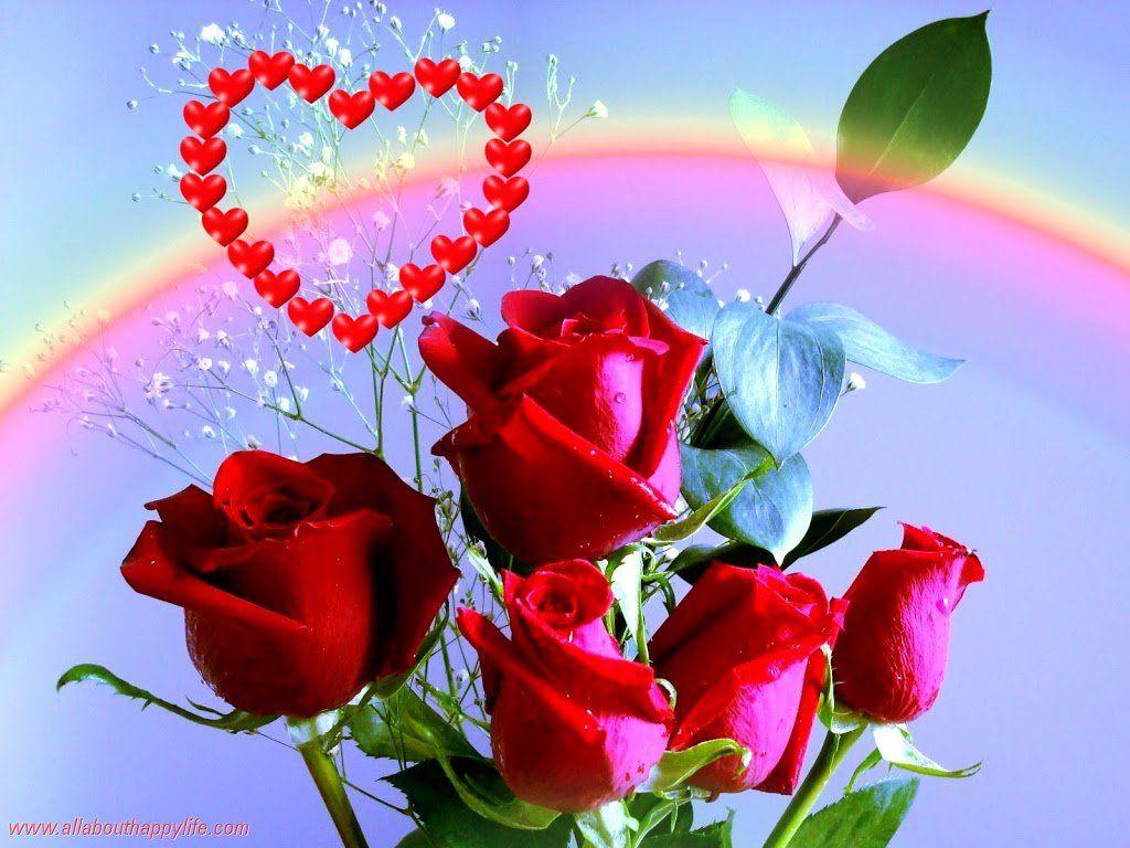 Imagen de amor de un ramo de rosas rojas y alado un coraz³n dedcale a esa persona especial regalale gratis esta imagen ramos de rosas rojas con amor