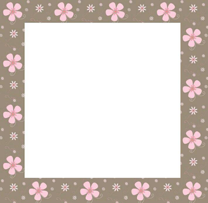 Cenefa marrón con flores rosadas.**   Marcos/Frame   Pinterest ...