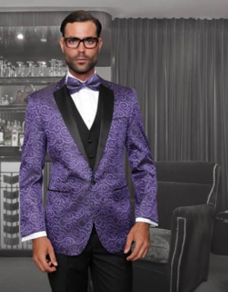 SKU#PN-1M 1 Button Sharkskin Paisley Tuxedo Dinner Jacket Blazer   ...