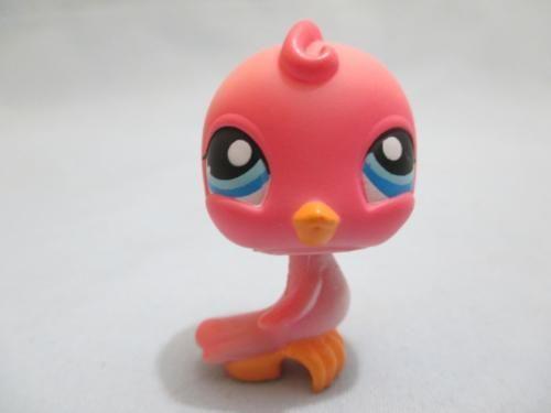 Littlest Pet Shop Pets Bird Pink Dot Blue Eyes Parakeet Baby #205 100% Authentic