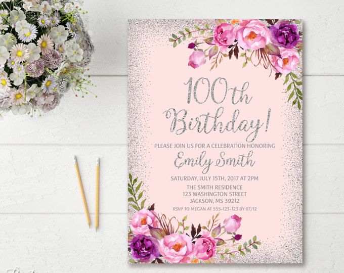 70th Birthday Invitation, Any Age Women Birthday Invitation, Floral Purple and Silver Women