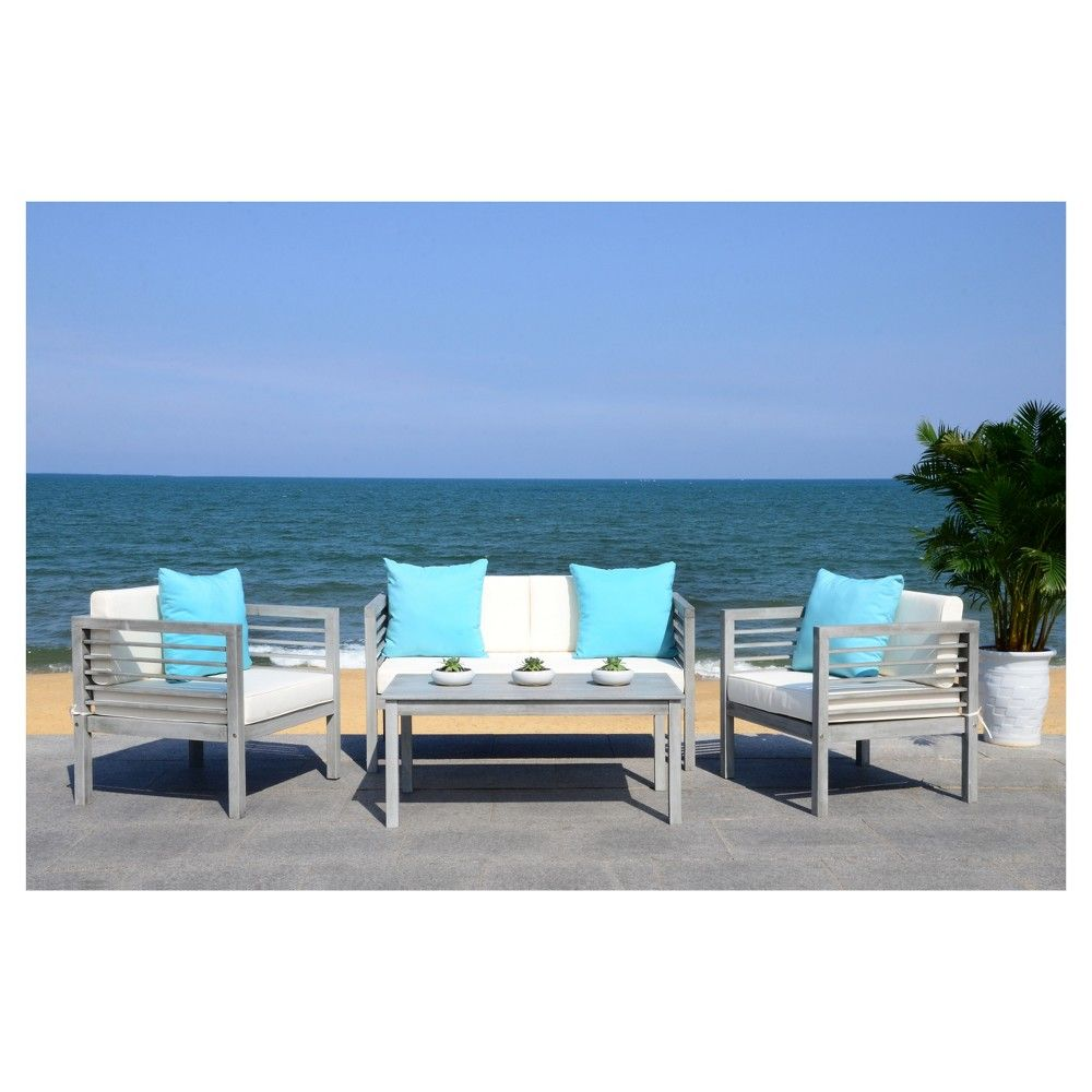 Alda 4pc Wood Patio Seating Set - Gray - Safavieh | Blue ... on Safavieh Outdoor Living Montez 4 Piece Set id=90833