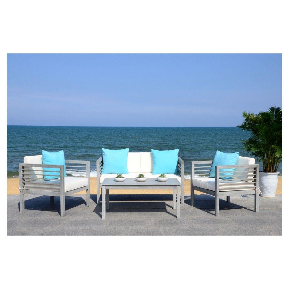 Alda 4pc Wood Patio Seating Set - Gray - Safavieh | Blue ... on Safavieh Alda 4Pc Outdoor Set id=77232