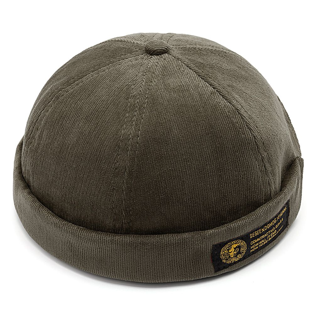 Mens Corduroy Adjustable Solid French Brimless Hat Vogue