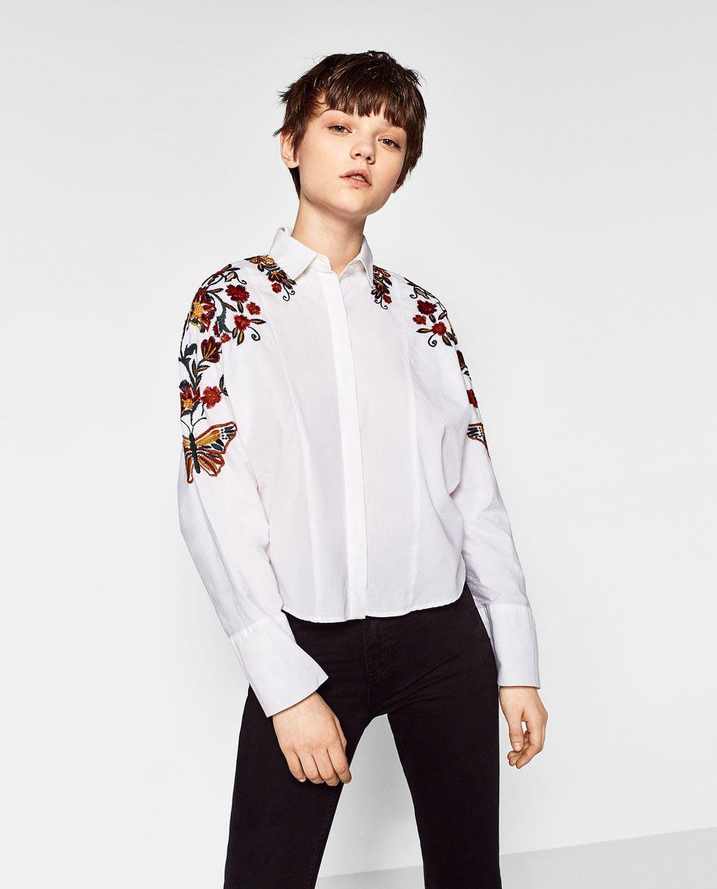 de119e0c9 Imagen 1 de CAMISA BORDADO FLORES de Zara   Zapatos   Camisas ...