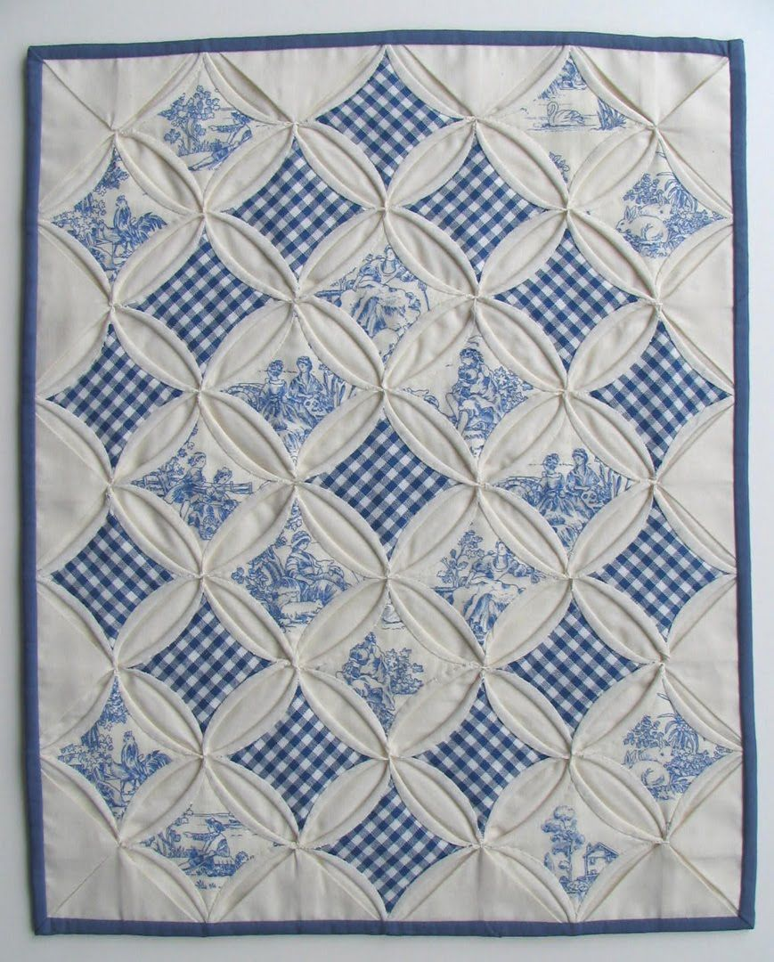 Toile and gingham cathedral windows mini quilt by miriam for Window quilts