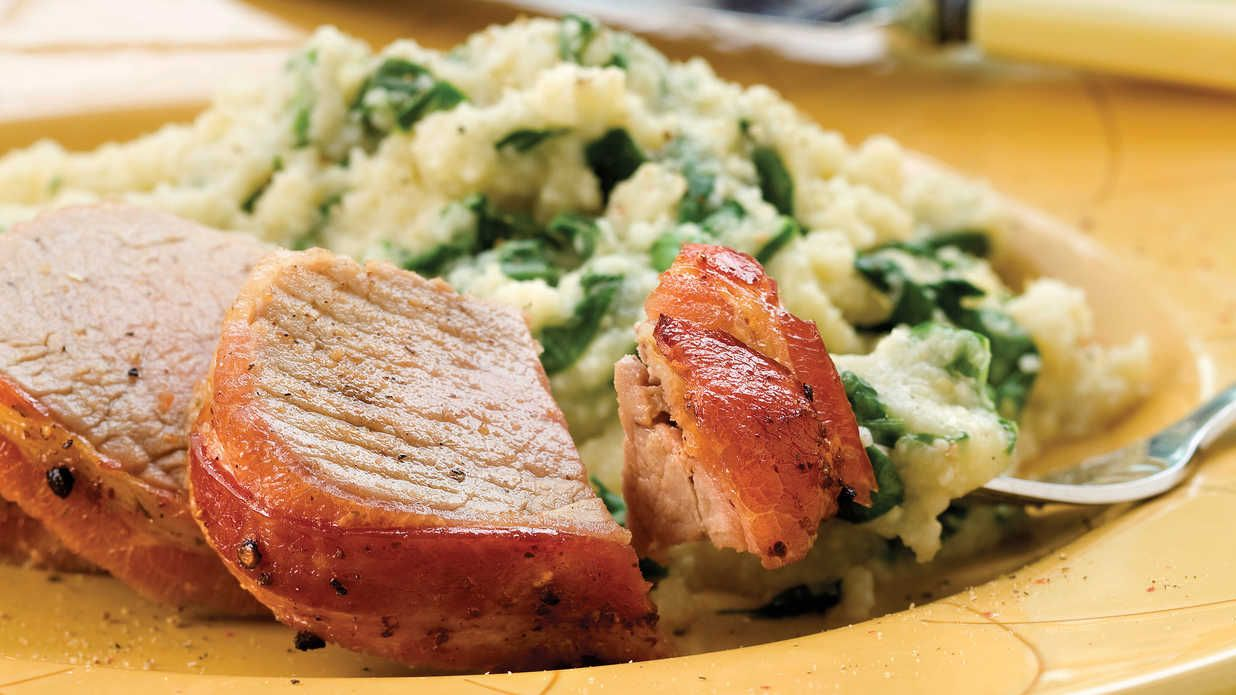 Bacon-Wrapped Pork Tenderloin - Quick & Easy Main Dishes - Southern Living - Recipe:Bacon-Wrapped Pork Tenderloin  Everything's better with bacon, and this pork tenderloin recipe is no exception! Go ahead and season the other tenderloin in the package with your favorite spice blend. Wrap and freeze to jump-start another meal.