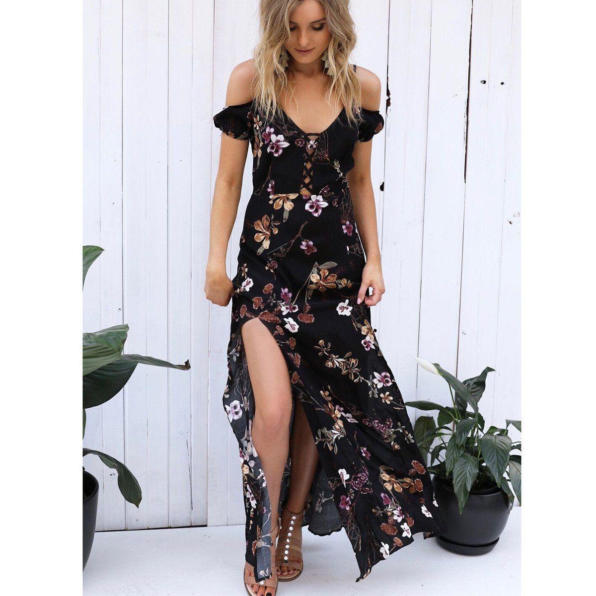 Spaghetti strap vneck bear shoulder floral print split long dress