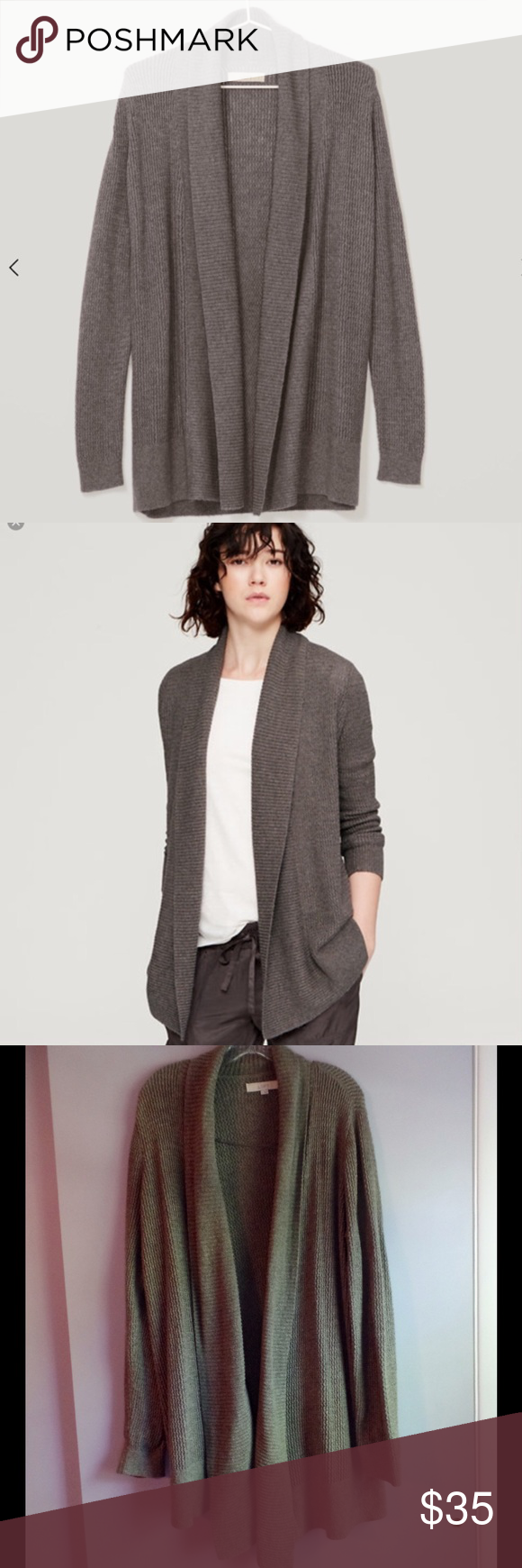 LOFT Textured Long Cardigan Shawl Collar | Long cardigan, Lofts ...