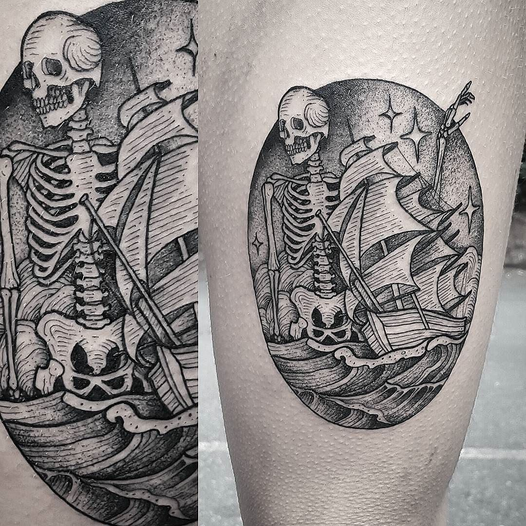 85a466687a3bc Skeleton Ship by @cuttybage at Ghost Monkey Tattoo in Boone North Carolina.  Based off of artwork by @sineateruk.