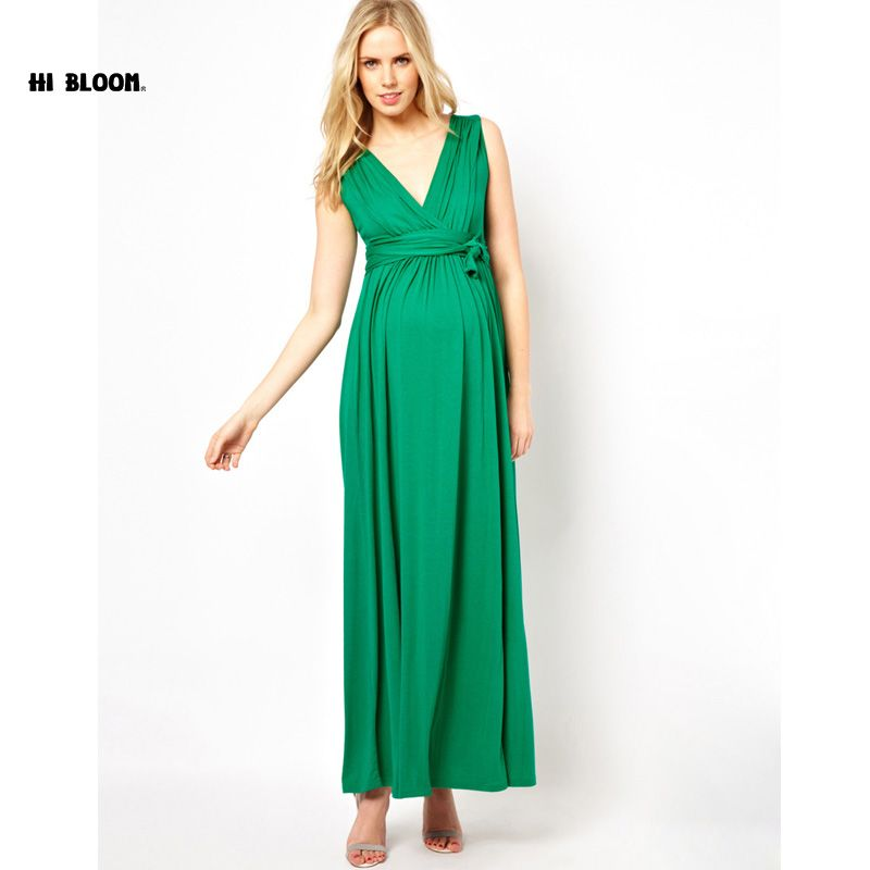 Happy Easter Brand Maternity Clothes V-Neck Long Evening Gowns Dress ...