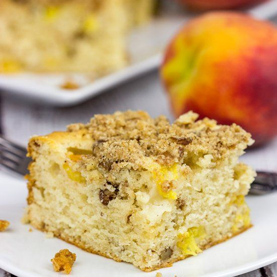 This Peach Pecan Coffee Cake is so good it can double as dessert or breakfast…or both!