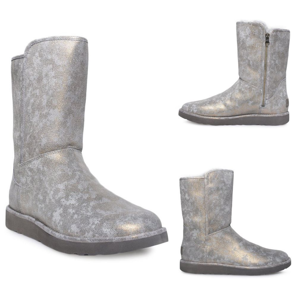 cda35d35af2 New UGG Abree Short II Stardust Metallic Gunmetal Sheepskin Boot SZ ...