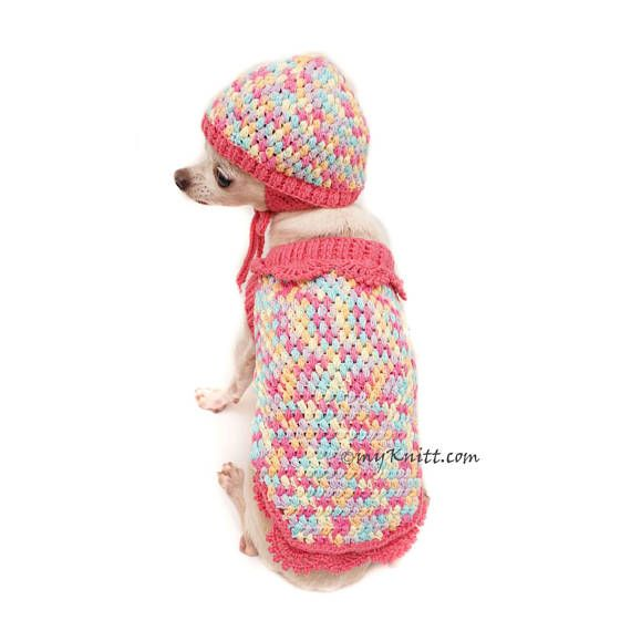 Pink Dog Clothes With Dog Hat, Crochet Dog Sweater, Knit Dog Sweater ...