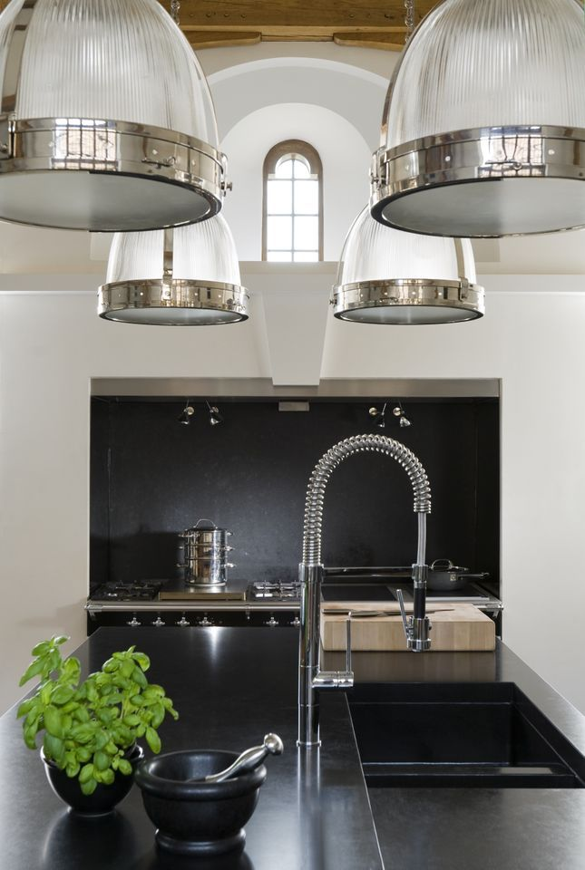 Industrial Pendants + Kitchen Design By John Minshaw.love The Use Of 4  Pendants