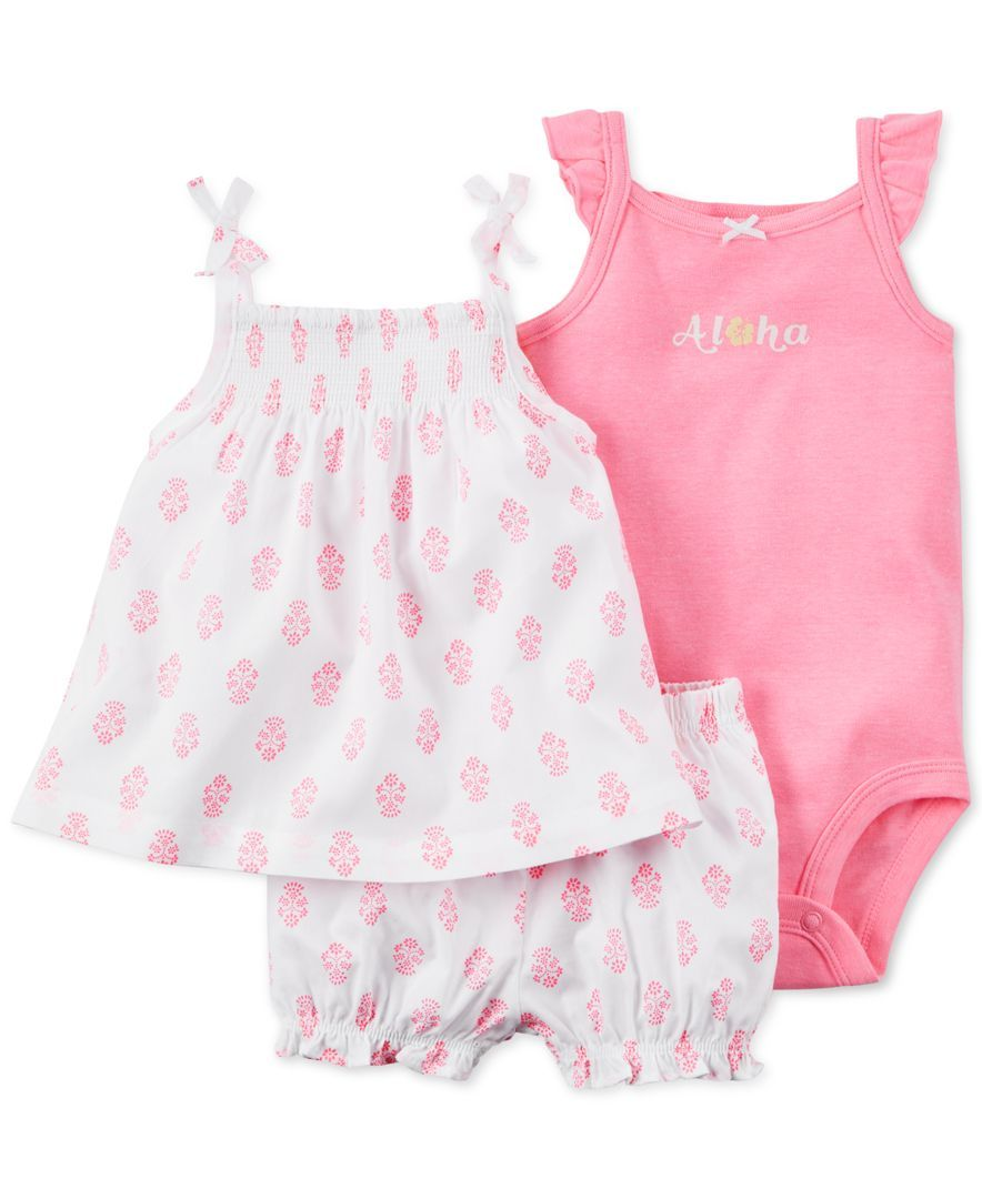 01ed47145 Carter's Baby Girls' 3-Pc. Bodysuit, Tank & Bubble Shorts Set ...