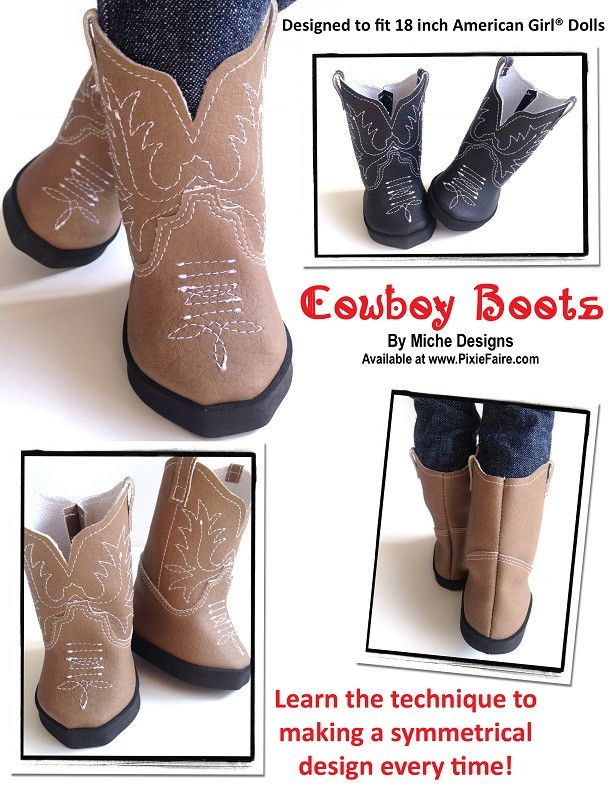 Brown & White Boots - Cowgirl Cowboy Boots Fits American Girl Doll, 18 Inch Doll Boots