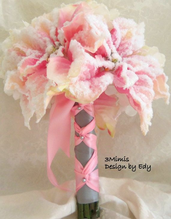 Romantic Blush Pink Wedding Bouquet Snow Covered Poinsettia And