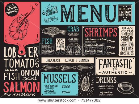 Seafood menu for restaurant and cafe Design template with hand - menu design template