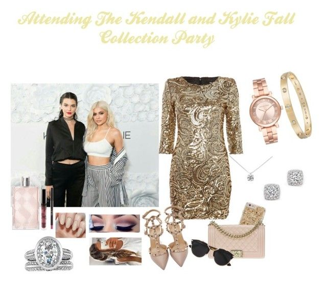 """Attending The Kendall and Kylie Fall  Collection Party"" by jordonpayne ❤ liked on Polyvore featuring Burberry, Michael Kors, Fantasy Jewelry Box, Tiffany & Co., Cartier, Bloomingdale's, TFNC, Valentino, Chanel and Christian Dior"