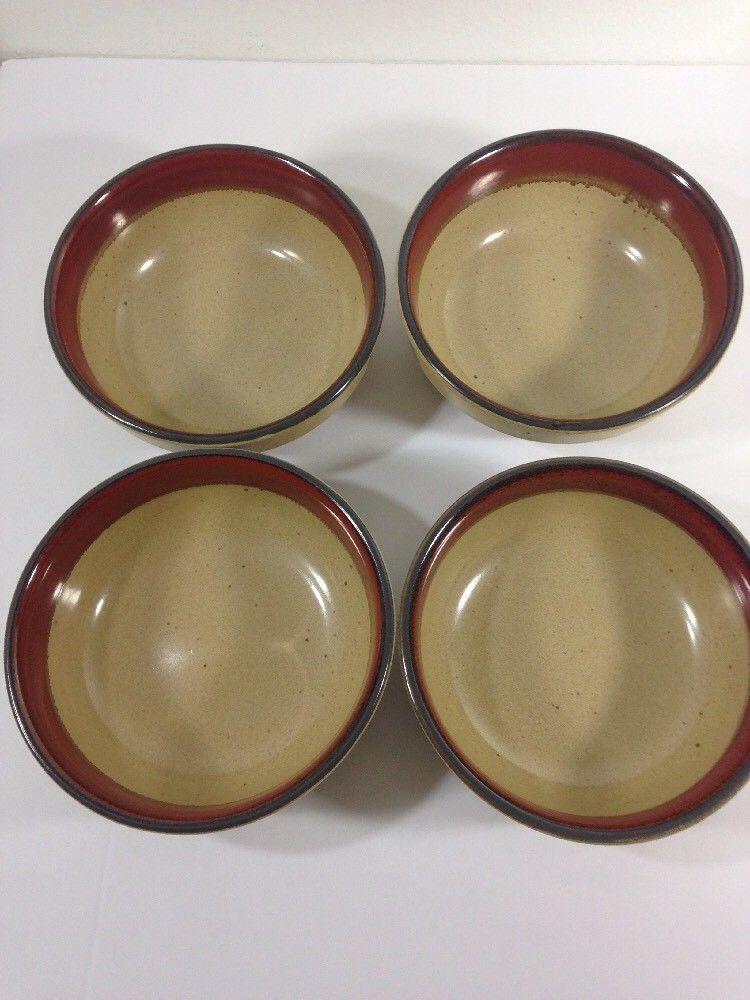 Bob Van Allen Vintage Stoneware Mikasa Dinnerware Village Potter Burgundy Bowls & Bob Van Allen Vintage Stoneware Mikasa Dinnerware Village Potter ...