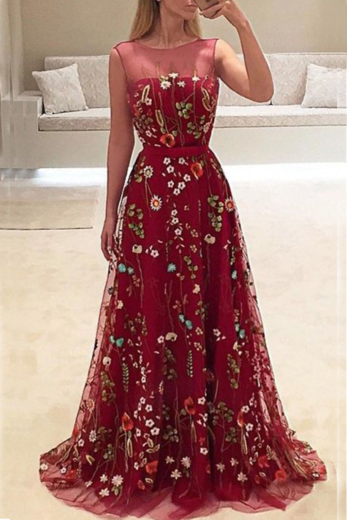Elegant burgundy lace long aline senior halter prom dress from