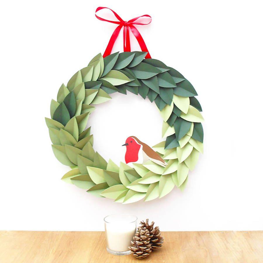 Handmade papercut robin christmas wreath robins wreaths and