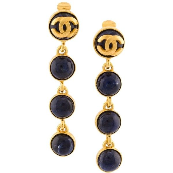Chanel Vintage CC logo dangle clip-on earrings ($795) ❤ liked on Polyvore featuring jewelry, earrings, black, dangling jewelry, chanel jewellery, chanel earrings, earring jewelry and chanel