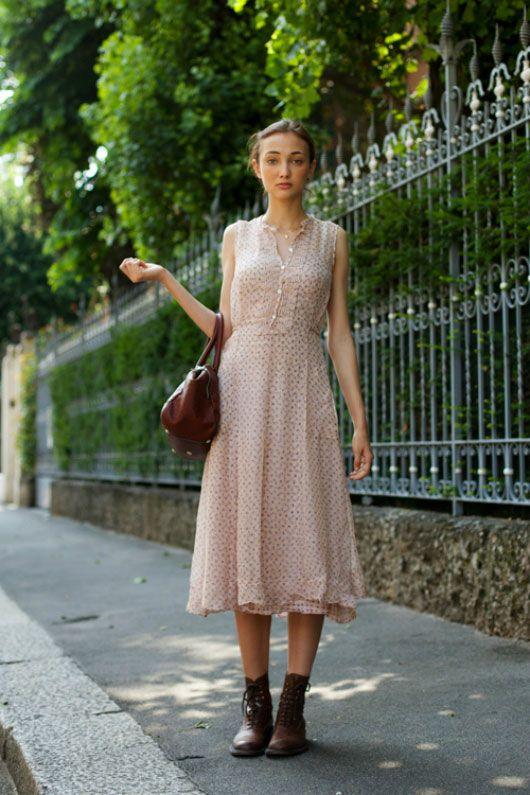 Lovely button-down dress, mid-calf length.