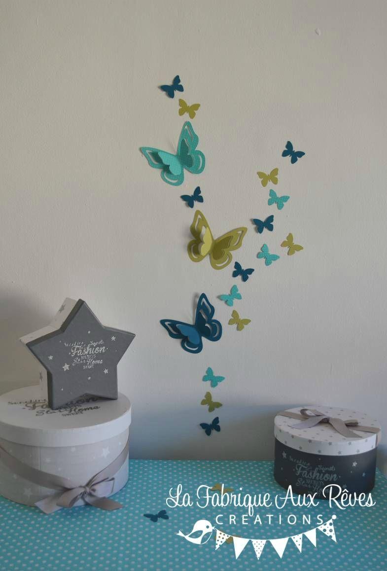 stickers papillons 3D turquoise anis bleu canard pétrole ...