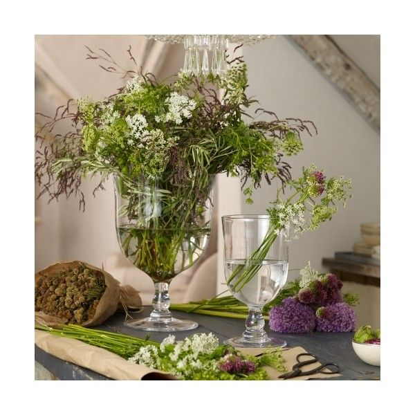 Ralph Lauren Home Declan Wide Vase (325 AUD) ❤ liked on Polyvore featuring home, home decor, vases, clear, hand blown glass vase, hand-blown glass vases, glass vase, glass home decor and ralph lauren
