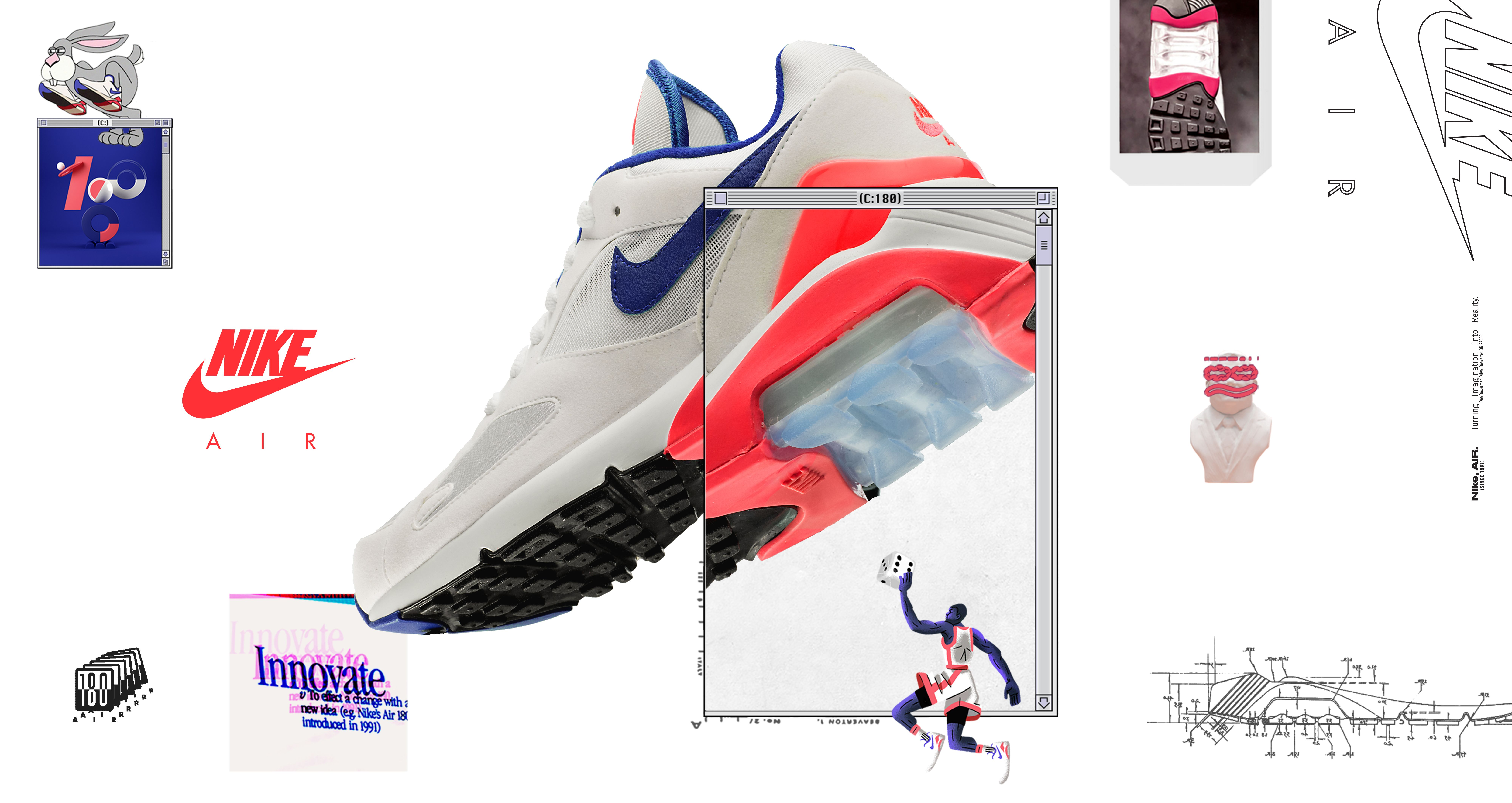 sports shoes 64cfd 1d710  NIKE公式 エア マックス 180  White   Ultramarine   Solar Red  (Air Max 180   615287- 100). Nike+ SNKRS JP