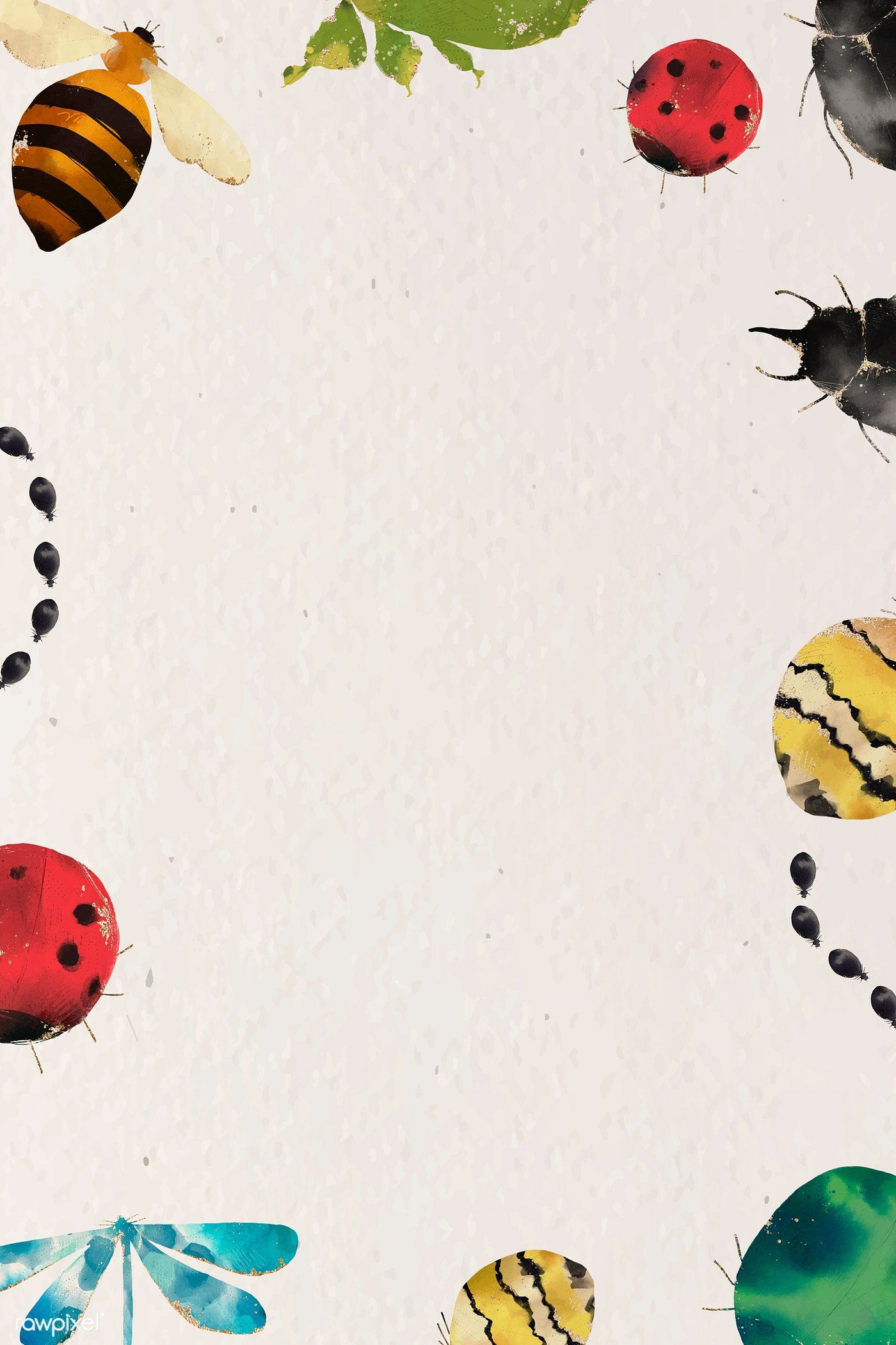 Download premium vector of Insects watercolor border
