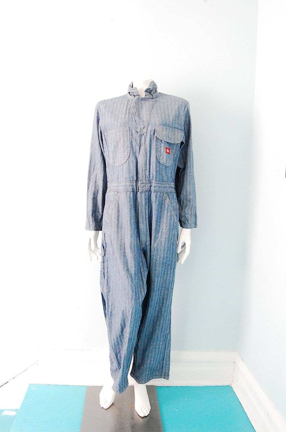 1ed80b29a2d Vintage Dickies Herringbone Coveralls Work Mechanic Chic Overalls xs-m