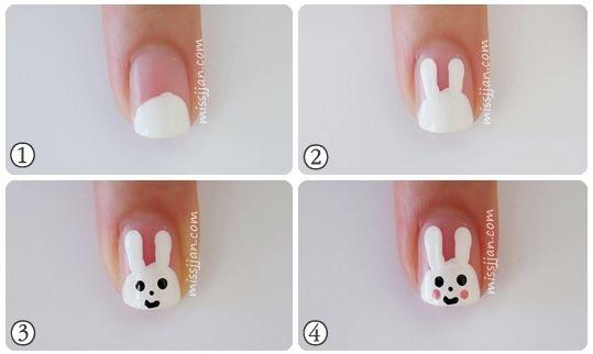 Bunny Nail Art With Images Kids Nail Designs Bunny Nails