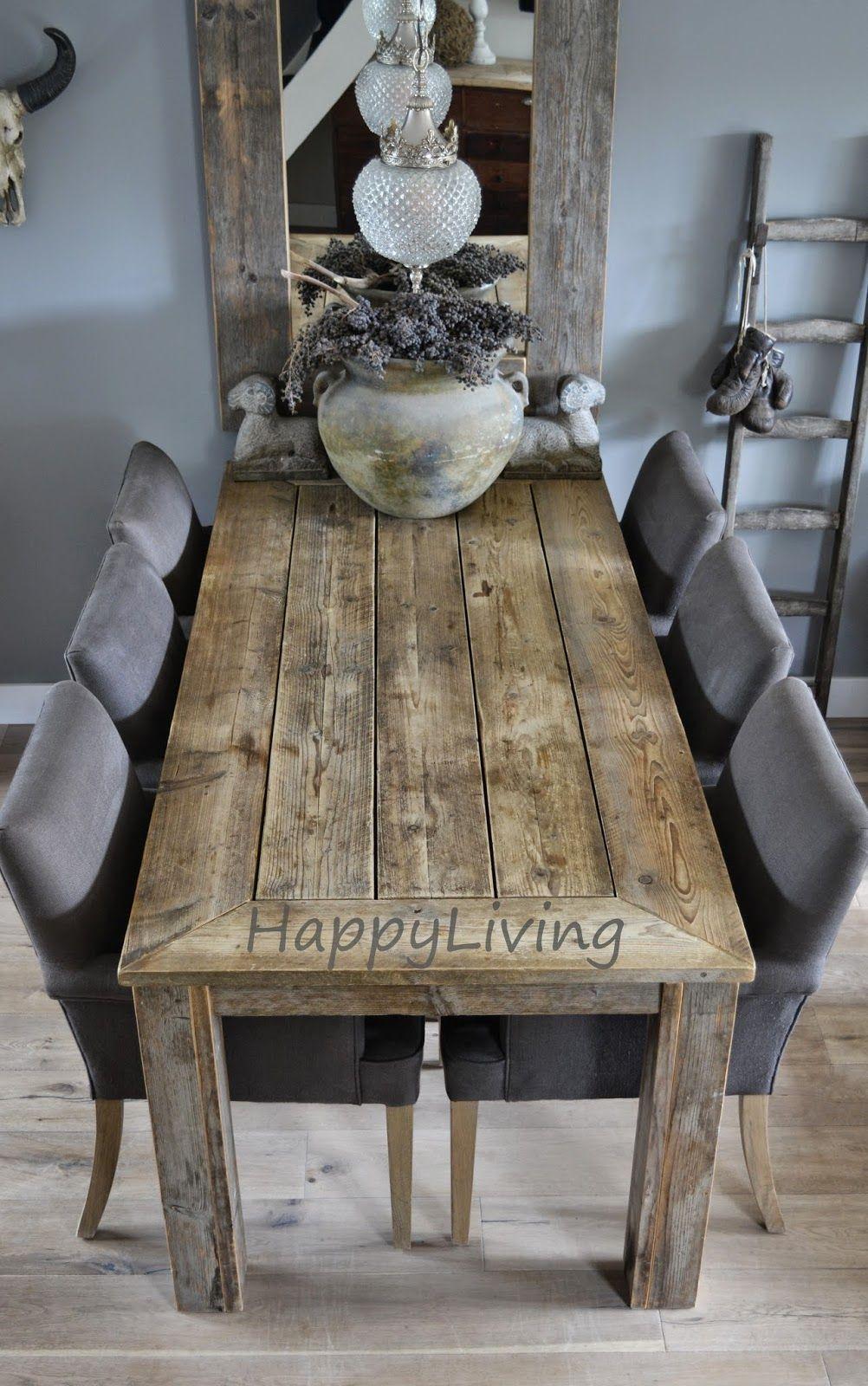 Happy living zit en af gaaf die spiegel achter de tafel interieur pinterest spiegel - Rustieke eetkamer decoratie ...