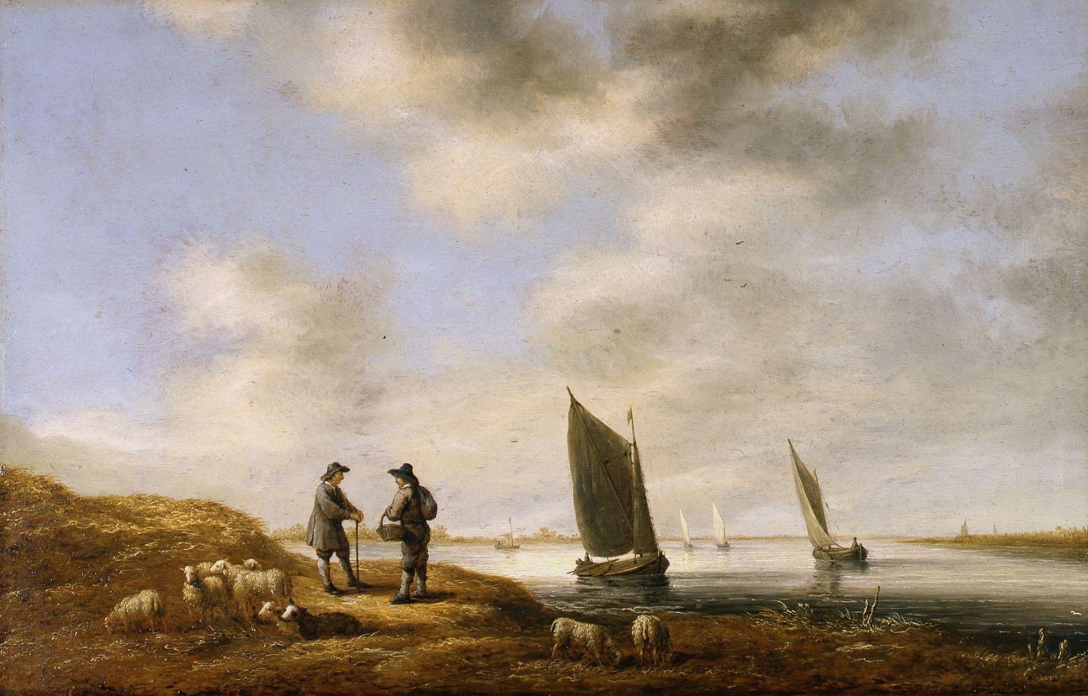 Речной пейзаж. 42х65, Музей Дордрехт. Aelbert Cuyp (1620-1691)