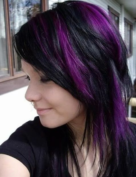 New Hairstyles For Girls With Purple Highlights Awesome