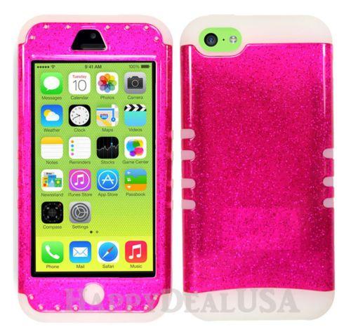 watch 17f60 3da65 Hybrid Silicone Cover Case for APPLE iPhone 5c Glow Dark/Glitter ...