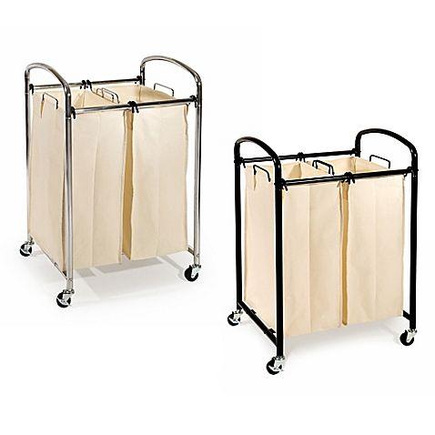 Seville Classics 2 Bag Laundry Sorter Hamper Cart Compact