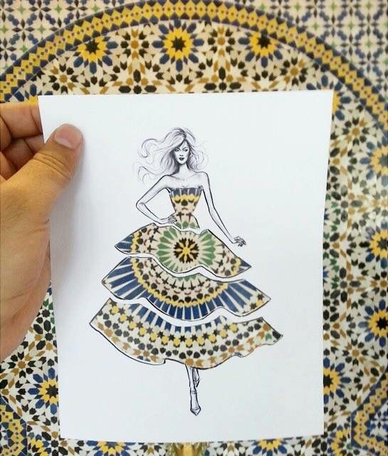 Shamekh Bluwi, an architect and fashion illustrator based in Amman- Jordan, creates a beautiful paper cut-outs with women whose dresses become whatever you hold them up against