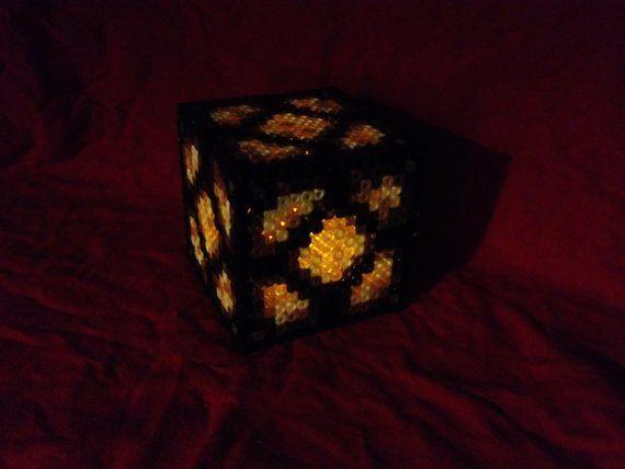 Minecraft Netherrack Redstone Lamp And Large Chest Made Of Perler Minecraft Light Perler Bead Templates Perler