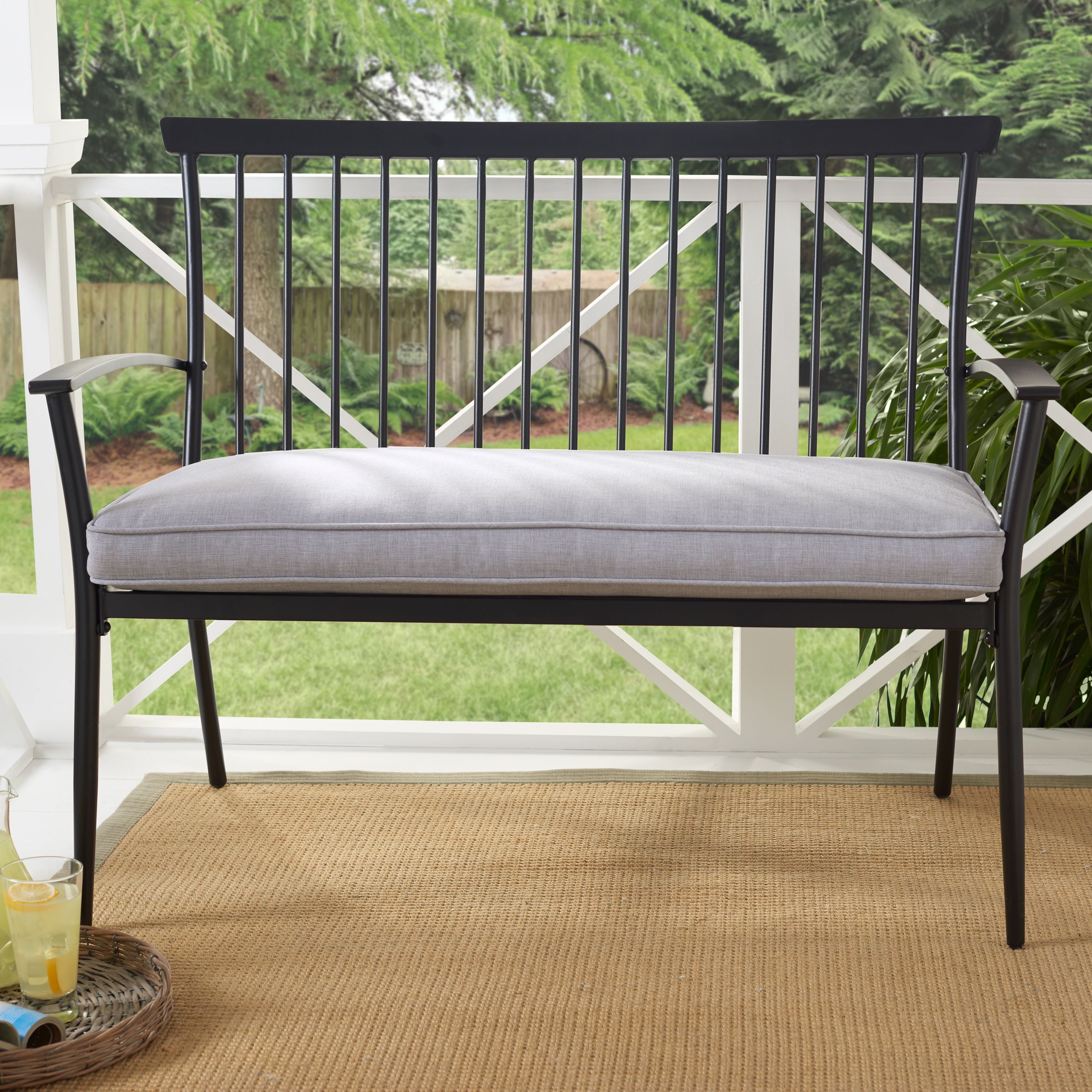 3958893a55478624fb1ebd2e3e78bc79 - Better Homes & Gardens Shaker Patio Bench With Gray Cushion