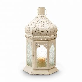 How amazing would this look whilst entertaining outdoors! Iron And Glass White Wash Lantern  from Oxfam Australia