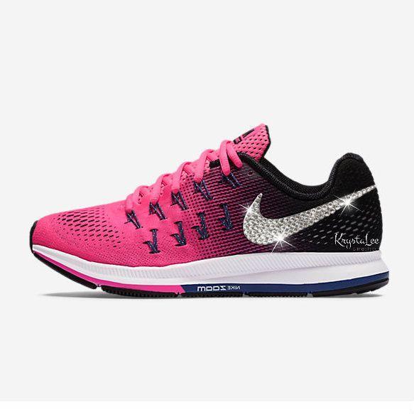 963470c0d860 Custom Bling d Women s Nike Air Zoom Pegasus 33 Color  Pink Blast Black Dark  Purple Dust White    INCLUDES ALL 4 SWOOSHES BLINGED.