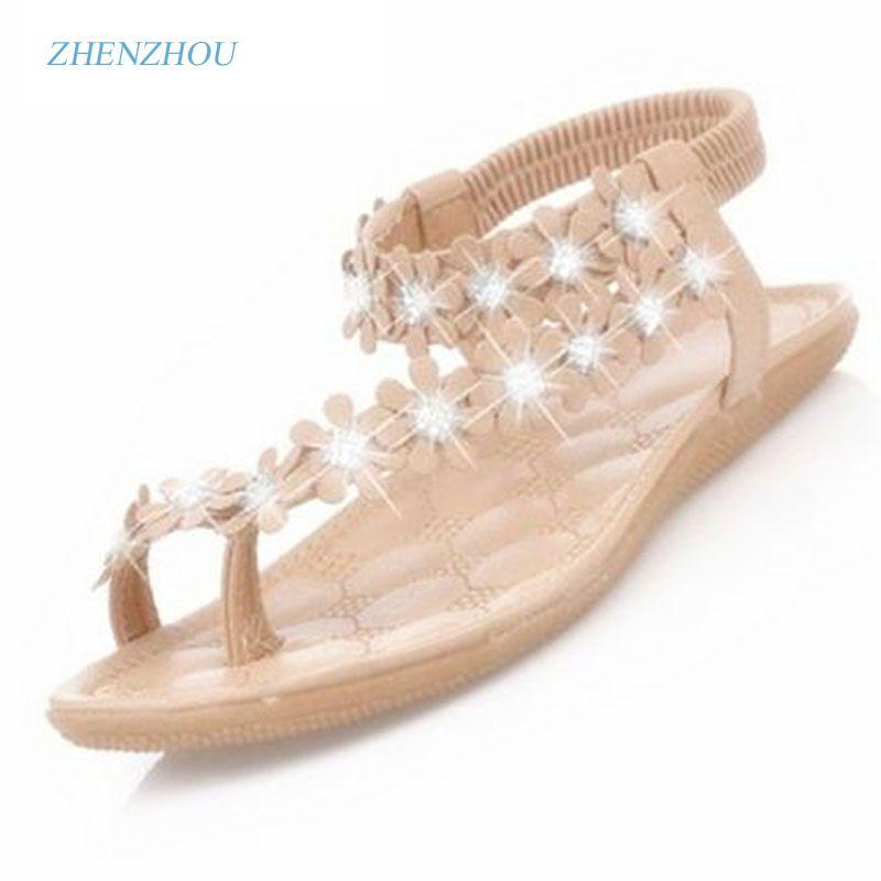6e74865fe9315 Free shipping Women s shoes 2017 beautiful set elastic toe sandals female  students Bohemian sandals comfortable flat