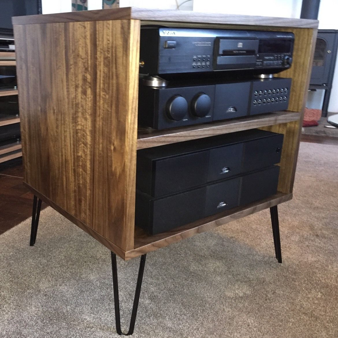 walnut tv hifi rack cabinet retro hairpin legs. Black Bedroom Furniture Sets. Home Design Ideas